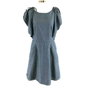 A New Day Dress Chambray Flutter Sleeve Pockets S